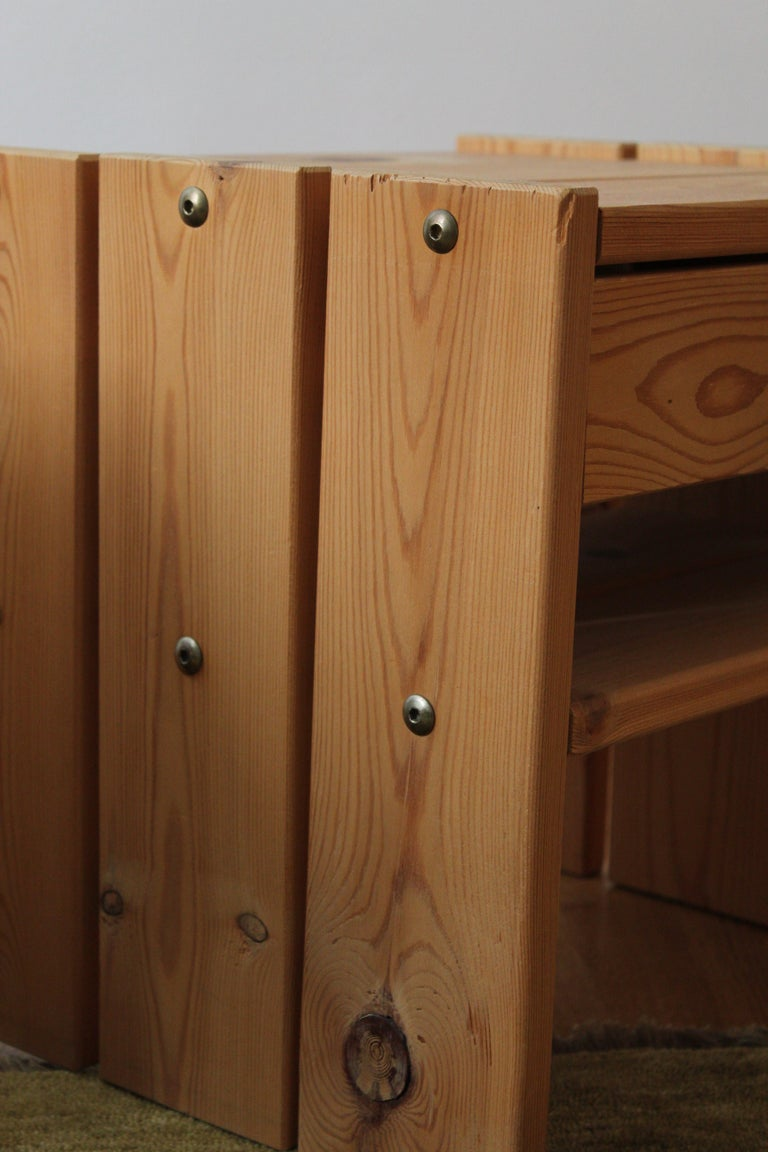 Late 20th Century Danish Designer, Minimalist Bedside Cabinets, Solid Stained Pine, Denmark, 1970s For Sale