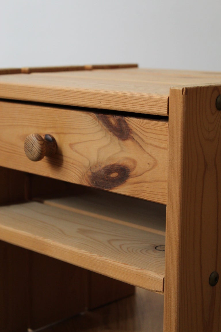 Danish Designer, Minimalist Bedside Cabinets, Solid Stained Pine, Denmark, 1970s For Sale 1