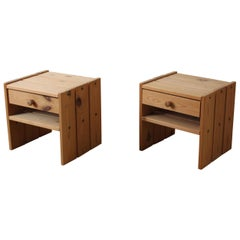 Danish Designer, Minimalist Bedside Cabinets, Solid Stained Pine, Denmark, 1970s