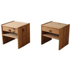 Danish Designer, Minimalist Bedside Cabinets, Solid Stained Pine, Denmark, 1970s