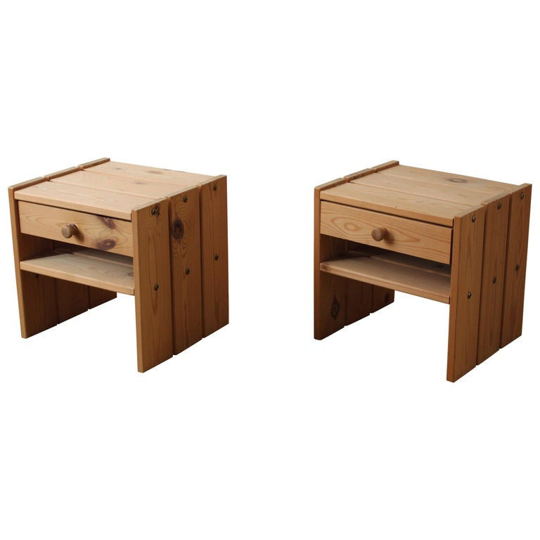 Danish Designer, Minimalist Bedside Cabinets, Solid Stained Pine, Denmark, 1970s For Sale