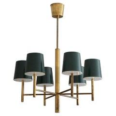 Danish Designer, Modernist Chandelier, Brass, Milk Glass, Lacquered Metal, 1960s