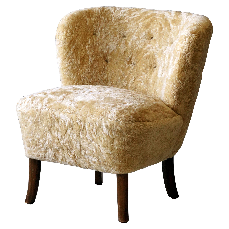 Danish Designer, Organic Lounge Chair, Beige Sheepskin, Beech, Denmark, 1940s