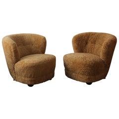 Danish Designer, Organic Lounge Chairs, Sheepskin, Stained Beech, Denmark, 1940s