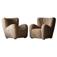 Danish Designer, Organic Lounge Chairs, Sheepskin, Stained Wood, Denmark, 1940s
