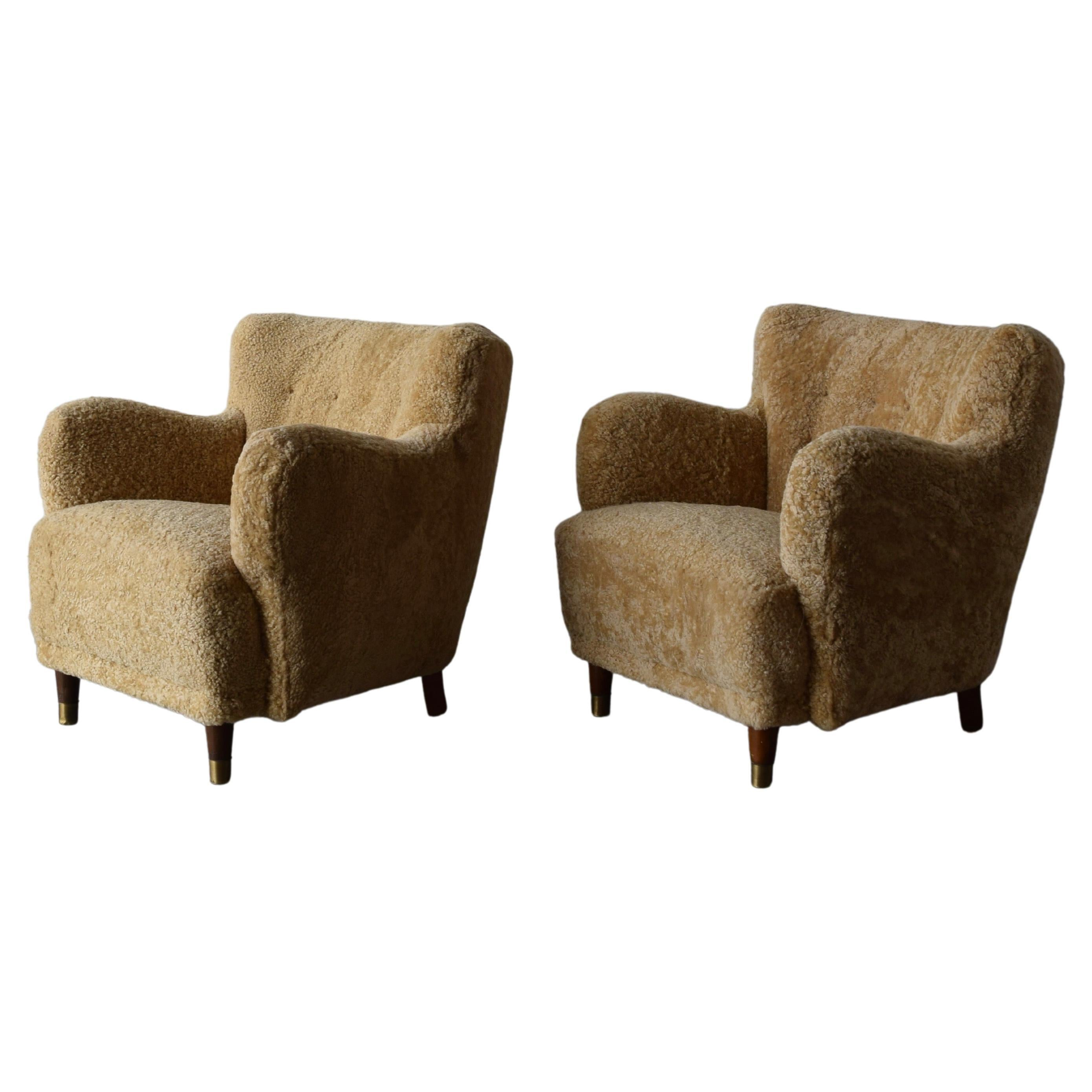 Danish Designer, Organic Lounge Chairs, Sheepskin, Wood, Brass, Denmark, 1940s