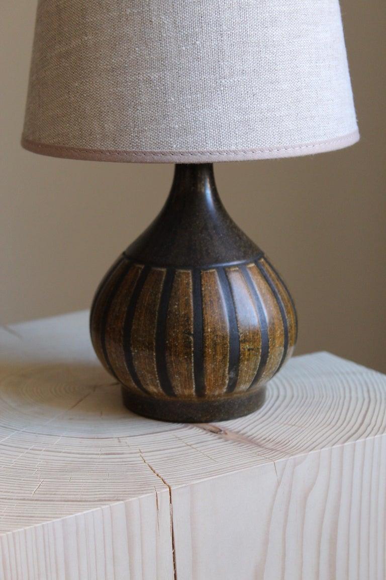 Mid-Century Modern Danish Designer, Small Table Lamp, Glazed Stoneware, Linen, Denmark, 1960s For Sale