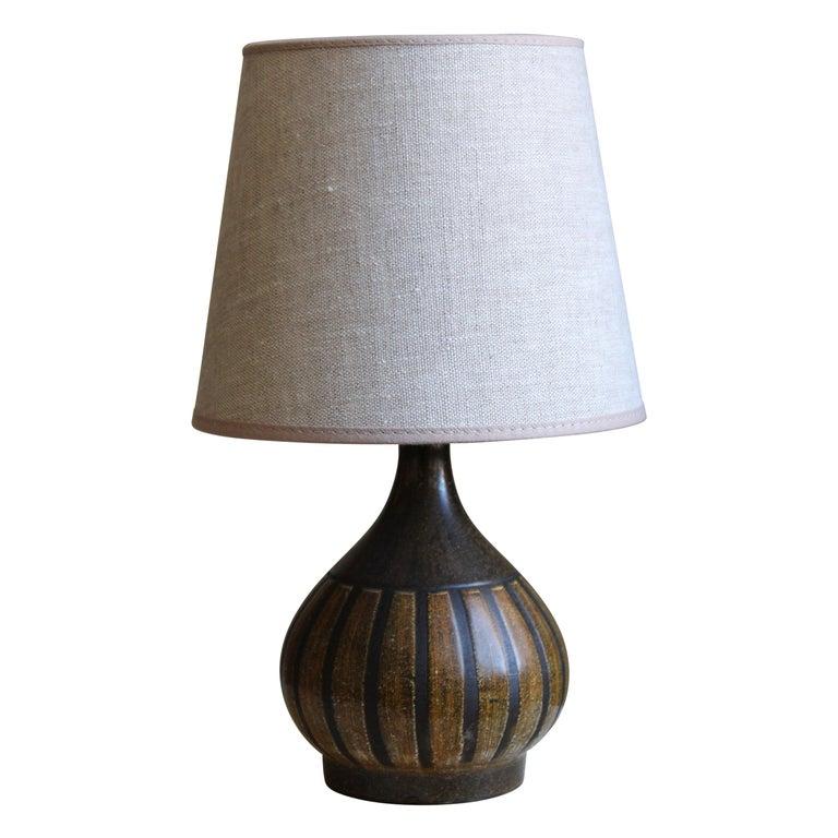 Danish Designer, Small Table Lamp, Glazed Stoneware, Linen, Denmark, 1960s For Sale