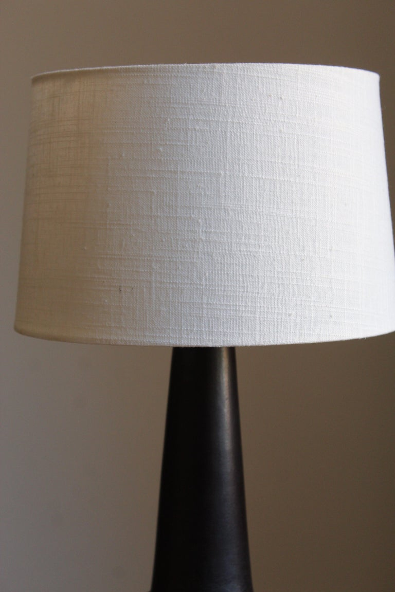 Mid-Century Modern Danish Designer, Table Lamp, Glazed Stoneware, Linen, Denmark, 1960s For Sale