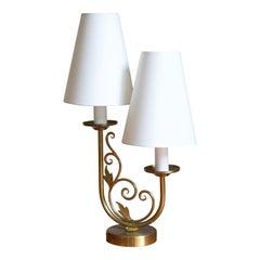 Danish Designer, Two-Armed Table Lamp, Brass, Fabric, Denmark, 1940s