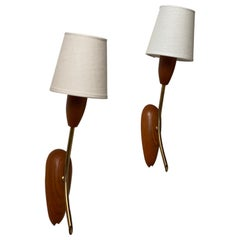 Danish Designer, Wall Lights / Sconces, Brass, Teak, Linen, Denmark, 1950s