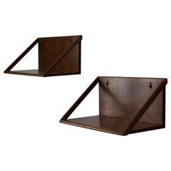 Danish Designer, Wall-Mounted Nightstands / Shelves, Solid Wood, Denmark, 1950s