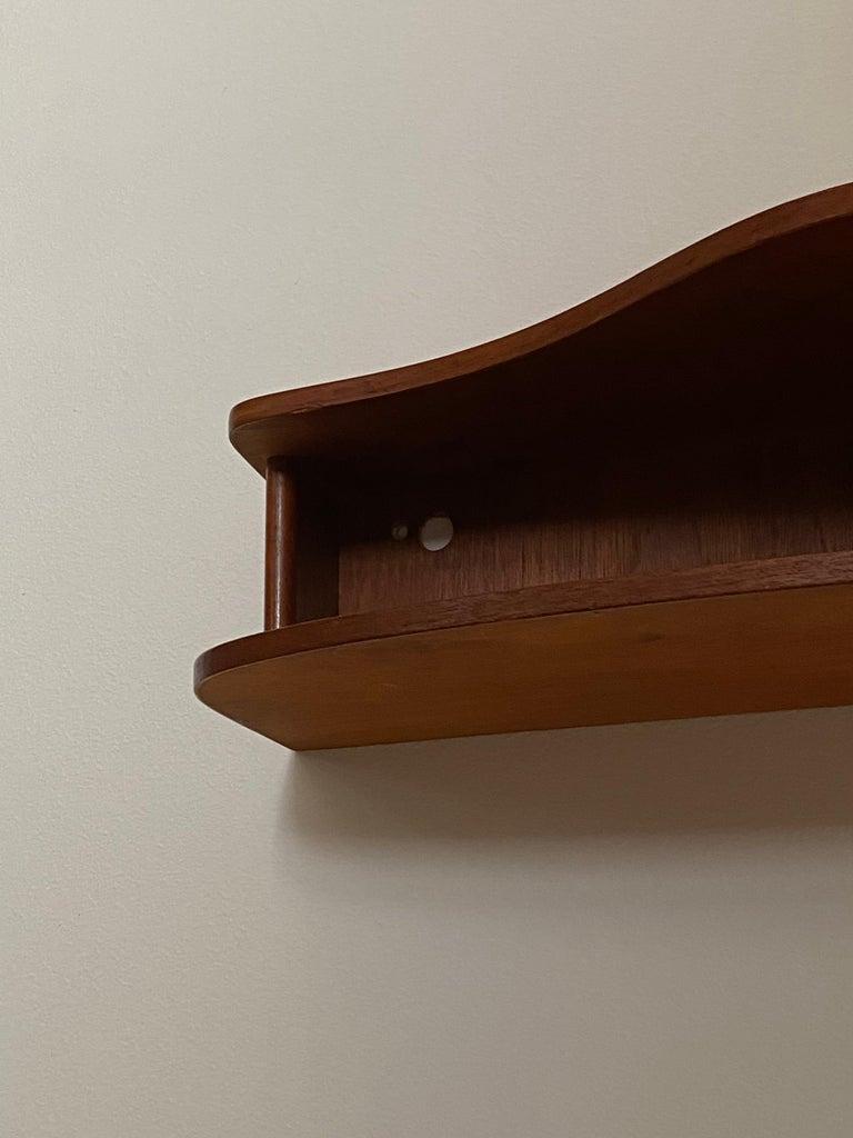 Mid-Century Modern Danish Designer, Wall-Mounted Organic Bedside Cabinets, Teak, Denmark, 1950s For Sale