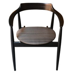 Danish Desk Chair in Wood and Horsehair, 1960s
