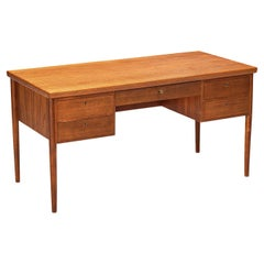 Danish Desk in Teak with Five Drawers