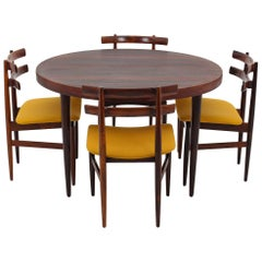 Danish Dining Chairs and Table in Rosewood by Poul Hundevad