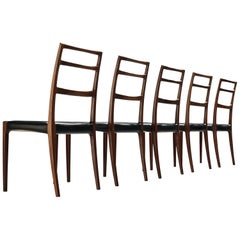 Danish Dining Chairs in Black Leather and Mahogany