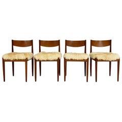 Danish Dining Chairs in Sheepskin, Set of 4
