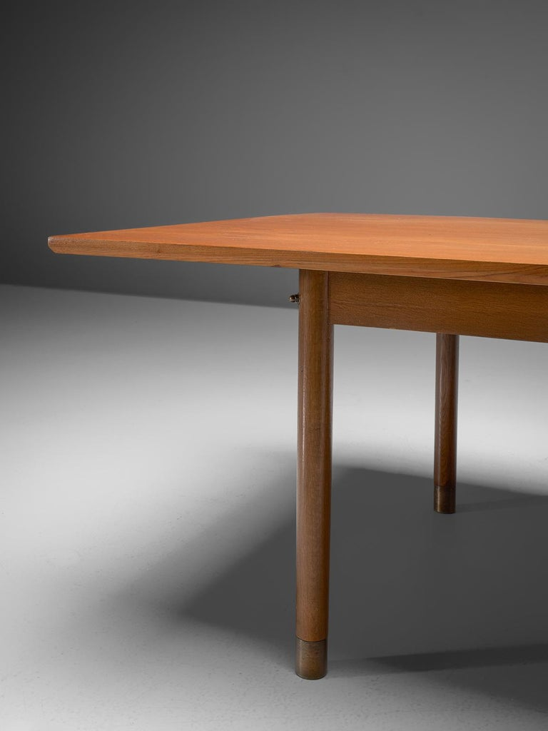 Scandinavian Modern Danish Dining or Conference Table in Teak and Brass For Sale