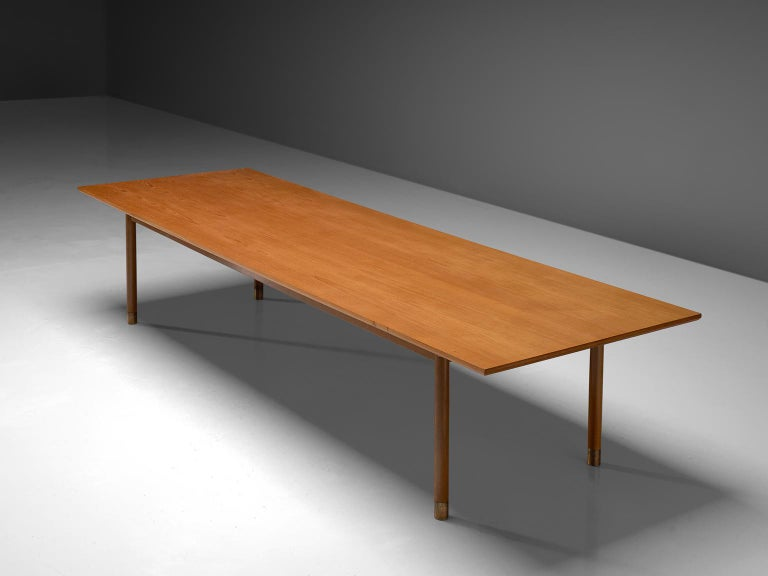 Danish Dining or Conference Table in Teak and Brass In Good Condition For Sale In Waalwijk, NL