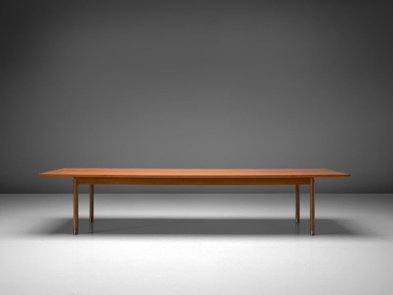 Mid-20th Century Danish Dining or Conference Table in Teak and Brass For Sale