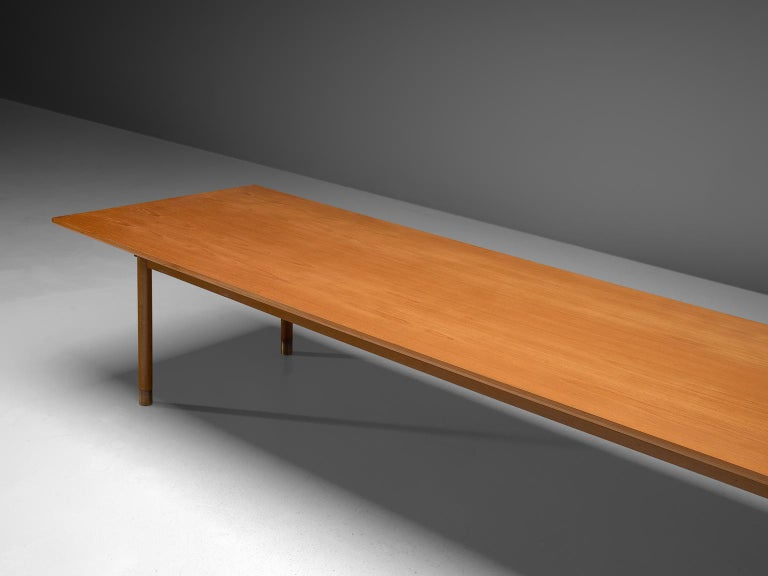 Danish Dining or Conference Table in Teak and Brass For Sale 1
