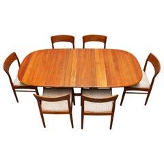 Danish Dining Room Set by Kai Kristiansen for Korup Stolefabrik Solid Teak, 1950