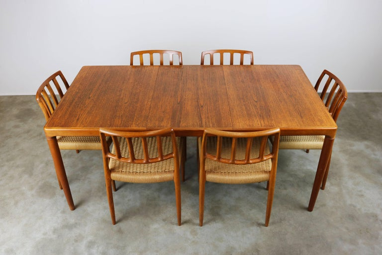 Danish Dining Room Set By Niels Otto Moller Model 83 Chairs 1960 Teak Papercord In Good