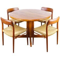 Danish Dining Room Set in Solid Teak by Niels Otto Moller Model 75 Teak & Rattan