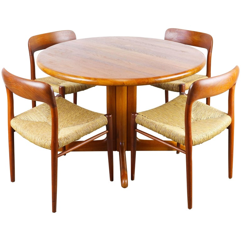 Danish Dining Room Set: Danish Dining Room Set In Solid Teak By Niels Otto Moller