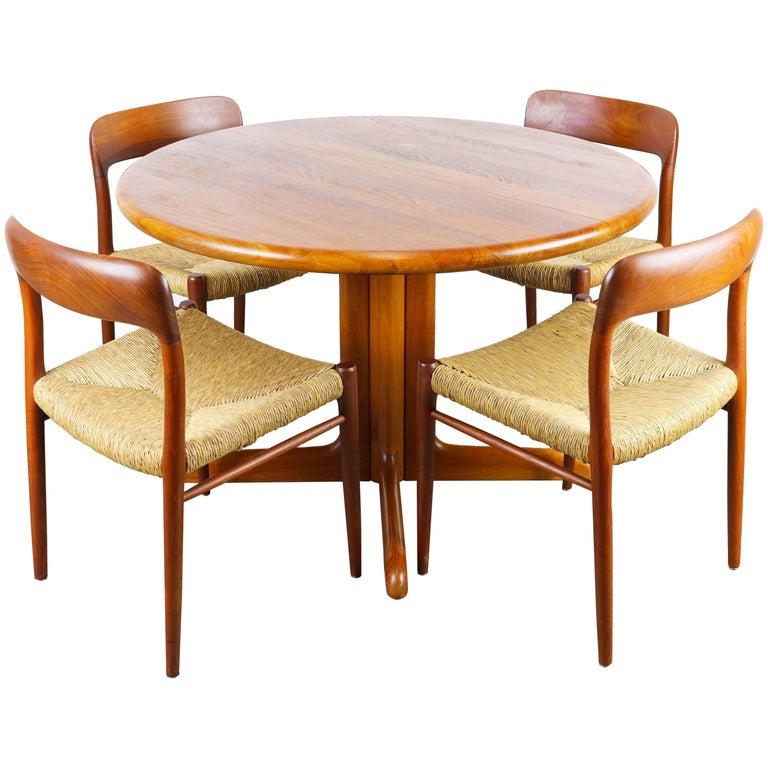 Teak Dining Room Set: Danish Dining Room Set In Solid Teak By Niels Otto Moller