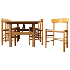 Danish Dining Set by Borge Mogensen for Fredericia 6284 Table J39 People Chairs
