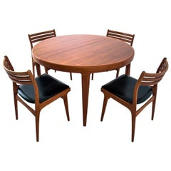 Danish Dining Table and Chairs Set, 1960s, Set of 5