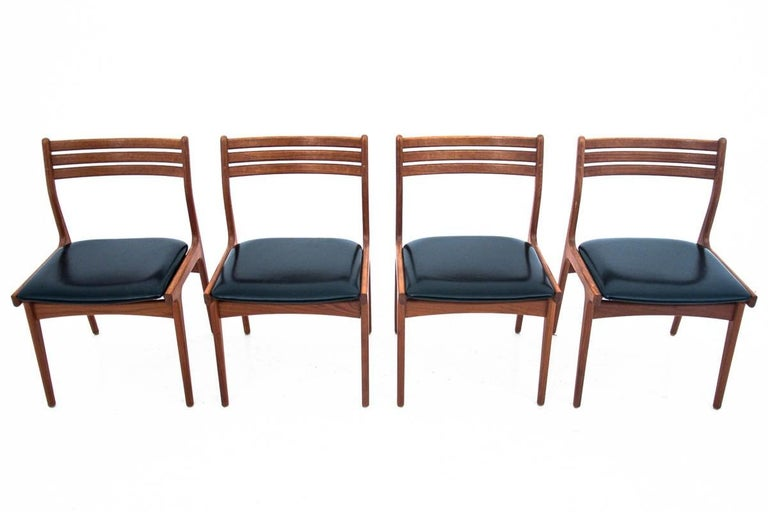 Danish Dining Table and Chairs Set, 1960s, Set of 5 In Good Condition In Chorzów, PL