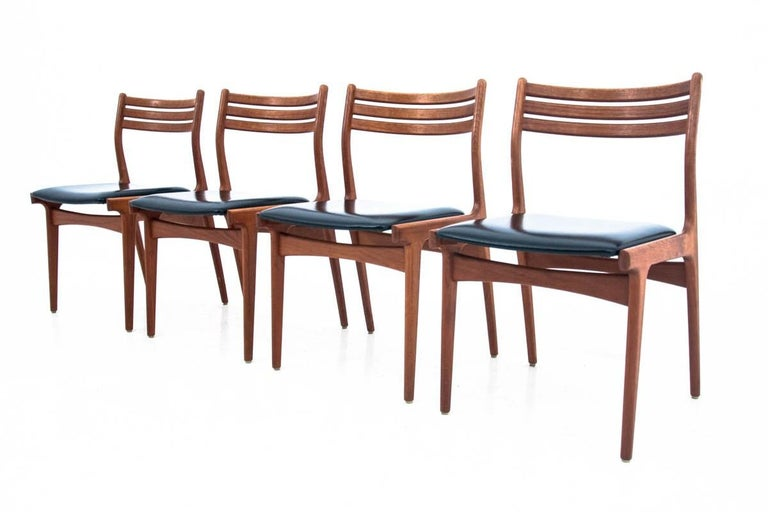 Teak Danish Dining Table and Chairs Set, 1960s, Set of 5