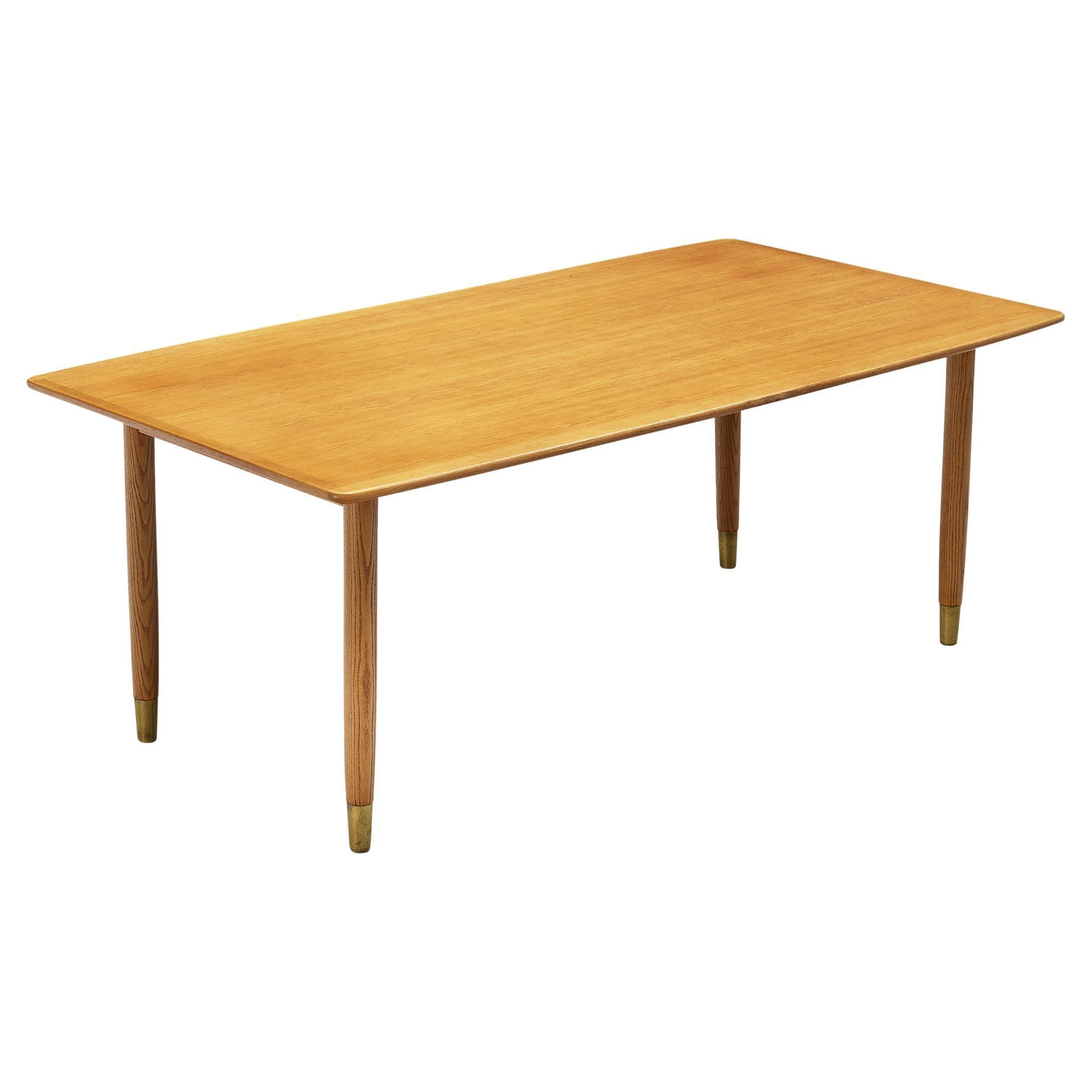 Danish Dining Table in Oak with Brass Feet