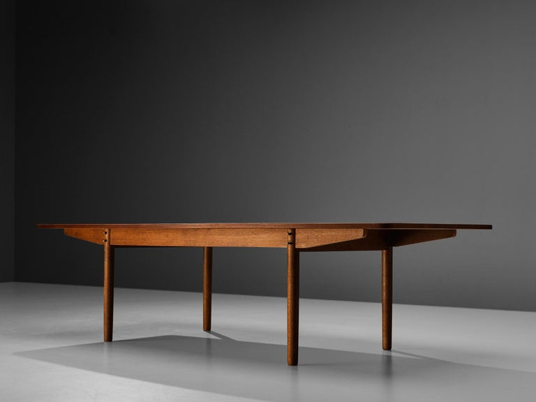 Brass Danish Dining Table in Teak with Boat-Shaped Top For Sale