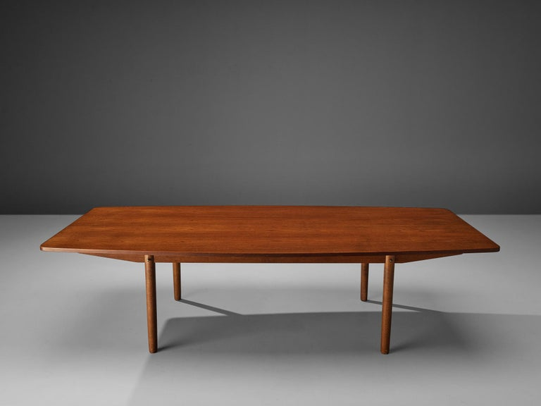 Danish Dining Table in Teak with Boat-Shaped Top For Sale 3
