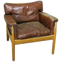 Danish Distressed Leather Club Chair
