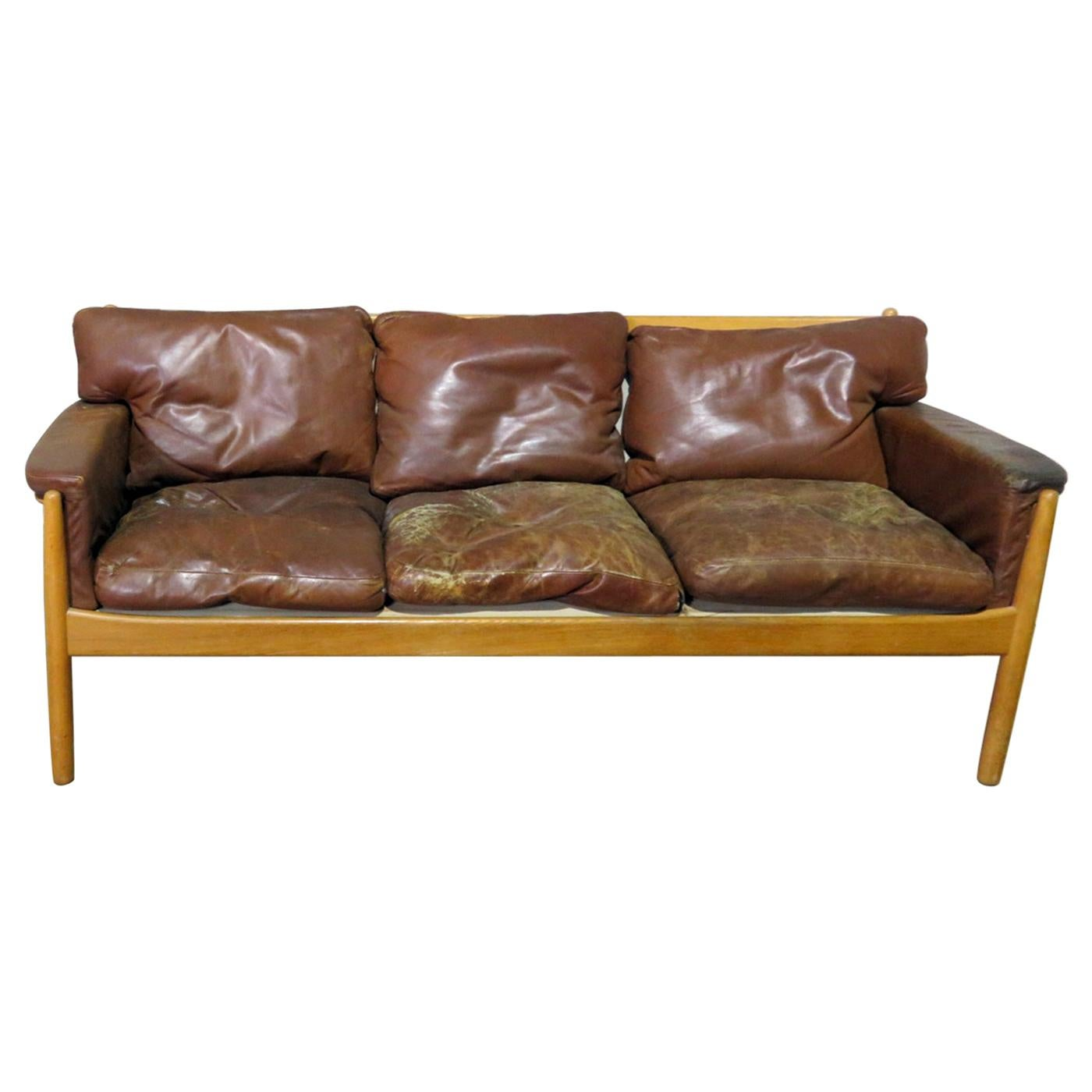 Danish Distressed Leather Sofa