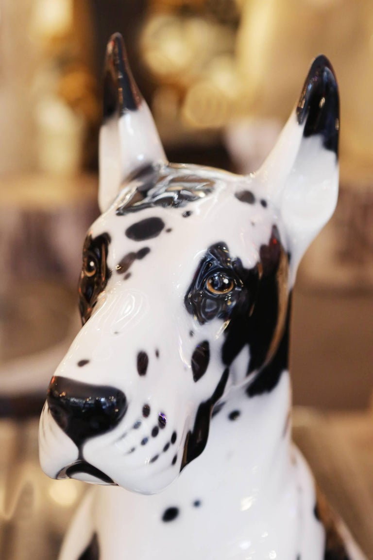Danish Dog Sculpture in Hand-Painted Ceramic For Sale 4