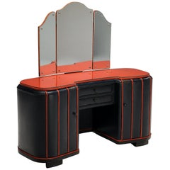Danish Dressing Table in Leather, 1940s