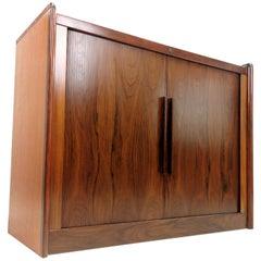 Danish Dyrlund Rosewood Tambour Sideboard Cabinet
