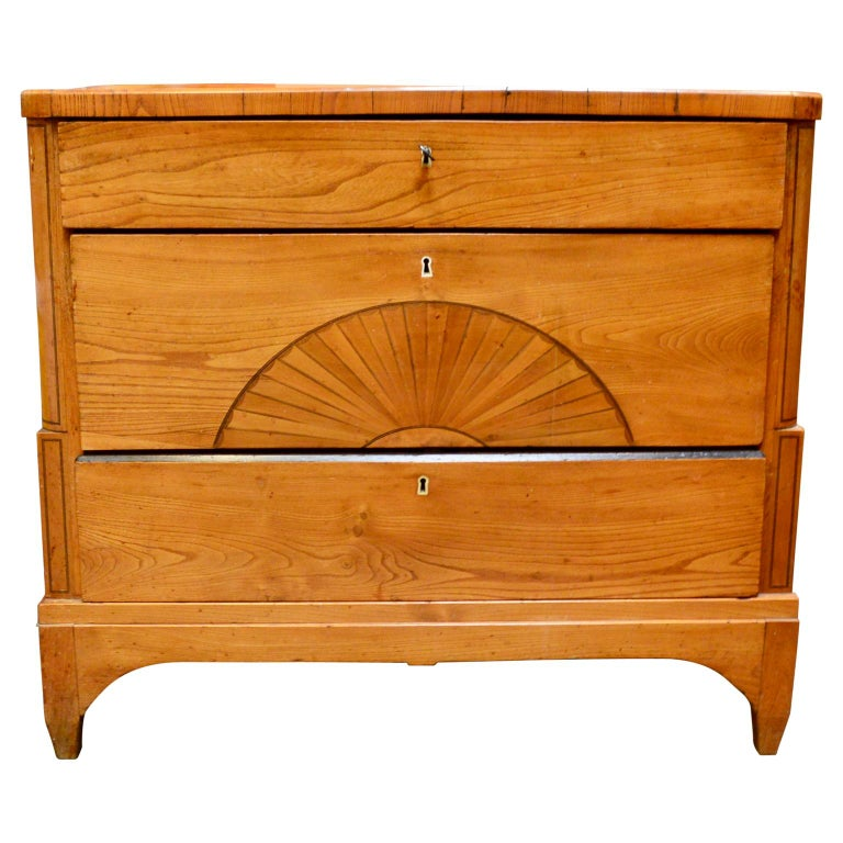 Biedermeier pine dresser with sun inlay and bone keyhole fittings.  EUR 175 delivery to most areas of London UK, The Netherlands, Belgium, Denmark, Sweden and Northern Germany.