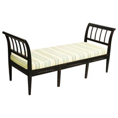Danish Early 19th Century Empire Bench / Daybed, Black Painted Wood