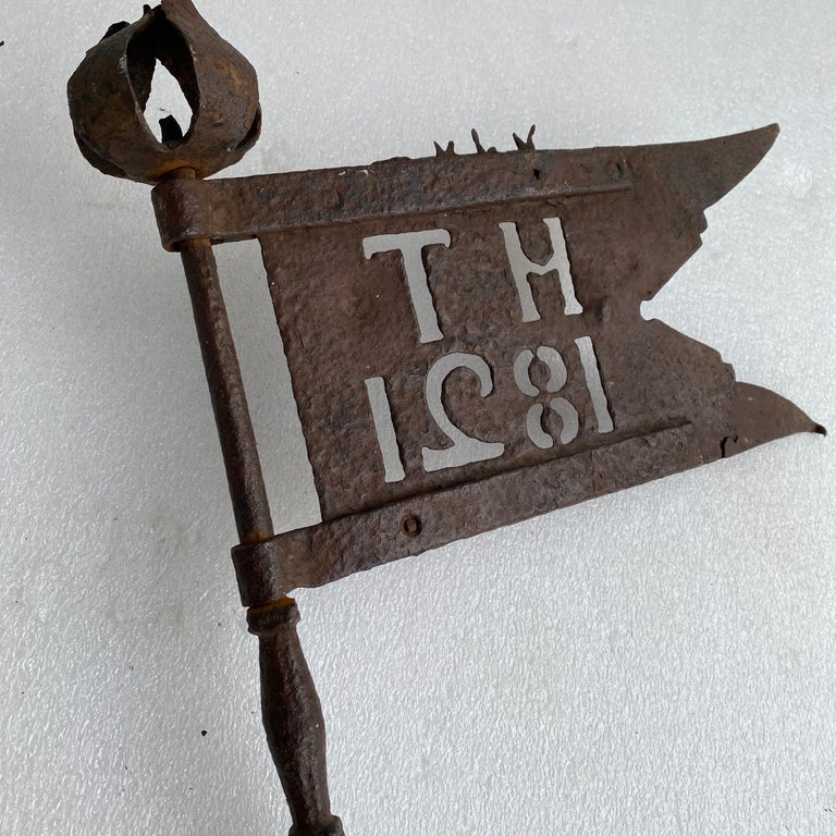 Danish Early 19th Century Iron Weather-Vane With Rose Finial, Dated 1821 For Sale 7