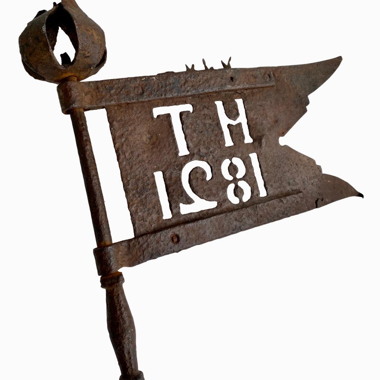 Folk Art Danish Early 19th Century Iron Weather-Vane With Rose Finial, Dated 1821 For Sale