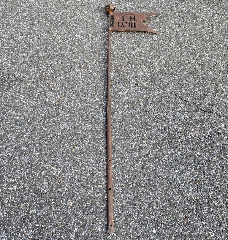 Danish Early 19th Century Iron Weather-Vane With Rose Finial, Dated 1821 In Good Condition For Sale In Haddonfield, NJ