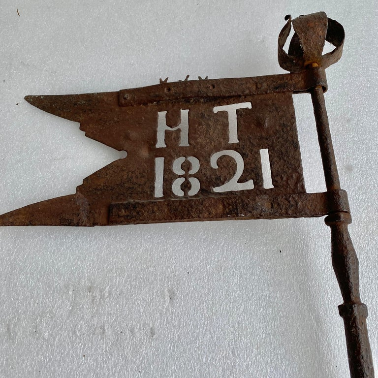 Danish Early 19th Century Iron Weather-Vane With Rose Finial, Dated 1821 For Sale 2