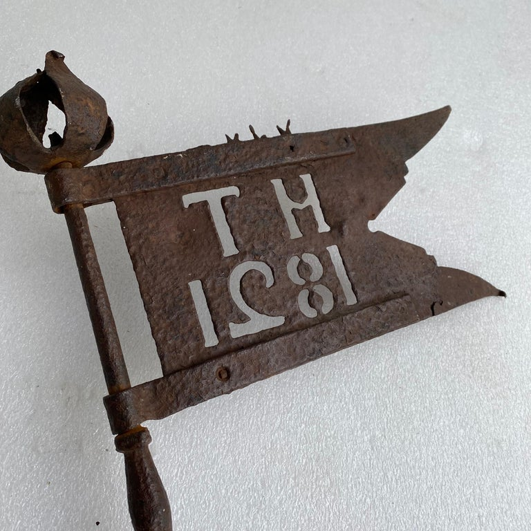 Danish Early 19th Century Iron Weather-Vane With Rose Finial, Dated 1821 For Sale 4